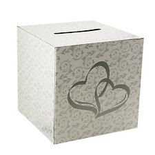 White 2 Hearts Wedding Party Card Money Gift Box Wishing Well Reception Decor