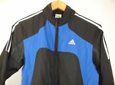 Adidas Youth Full Zip Mesh Lined Track Top Black Blue White XL (UK15-16yr) NWOT