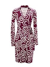 DVF WRAP DRESS SILK JERSEY KNEE-LENGTH NEW JEANNE TWO VINTAGE SWIRL SZ 10 NWT