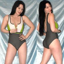 Reißverschluss am BODY* S 36/38 * BADEANZUG in grün* stretchiger Gymnastikanzug