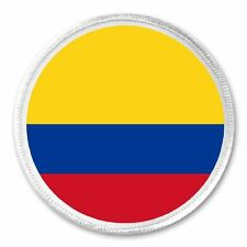"Colombia Colombian Flag - 3"" Circle Sew / Iron On Patch Born Raised Pride"