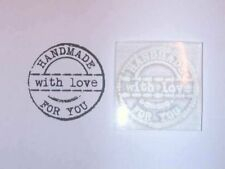 Handmade For You With Love Grungy Circle Clear Stamp, Typewriter Font