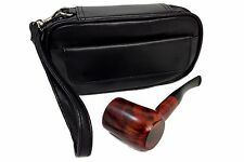 Pipe Combo Pouch Black Vinyl Holds 2 Pipes and Tobacco Pouch