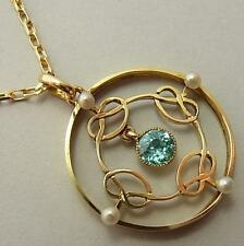 BEAUTIFUL, QUALITY, ANTIQUE EDWARDIAN 15CT GOLD, PEARL & BLUE ZIRCON PENDANT