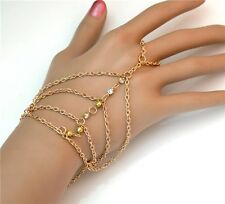 New Charm Gold Plated Rhinestone Statement Hand Chain Bracelet With Ring Jewelry