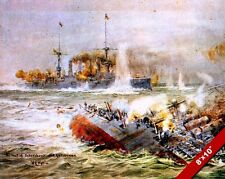 WWI NAVAL BATTLE OF THE FALKLAND ISLANDS PAINTING HISTORY ART REAL CANVAS PRINT