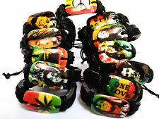 12 pieces Bob Marley Jamaica Reggae Music Rasta leather bracelets