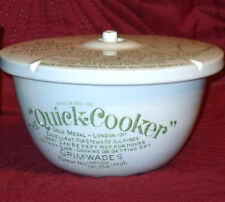 "OLD GRIMWADES ""QUICK COOKER"" LIDDED CERAMIC COOKING POT c1911 PERFECT CONDITION"