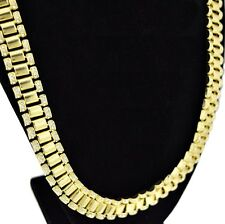 "Hip Hop Chain Iced-Out Watchband Links 15MM Wide Gold Tone Mens 30"" In Necklace"