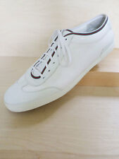 GUCCI 233321 authentic white leather Guccissima red green stripe sneakers 15.5