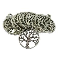 30Pcs Bulk Tibetan Silver Hollow Out Tree of Life Charm Jewelry DIY Pendant