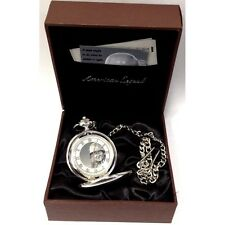 Boxx American Legend Silver Tone Gents Pocket Watch with 12 Inch Chain