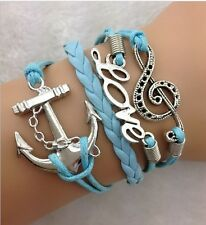 NEW Hot Retro Infinity LOVE Music Anchor Leather Charm Bracelet plated Silver
