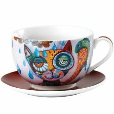 Allen Designs Cat and Owl D108 Cat Breakfast Mug and Saucer