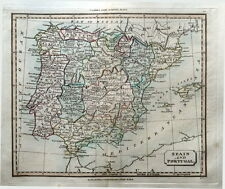 España & Portugal & Islas Baleares Mano Originales Color Antiguo mapa 1821