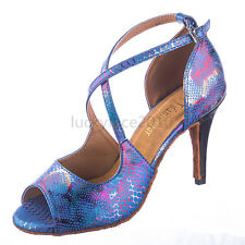 New Women Blue Snakeskin Ballroom Latin Salsa Tango Bachata Dance Shoes All Size