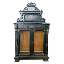 Fabulous Ebonized & Inlaid Cabinet w/Glass Doors #1391
