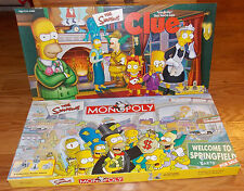 Simpsons Edition Monopoly & Clue Board Games 2000/2001 w/Pewter Tokens Complete