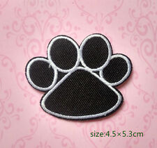 Black White Dog Animal Paw Print motif Iron on Patch applique fabric