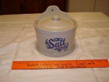 Pfaltzgraff Yorktowne Hanging Salt Box Crock With Lid grey blue
