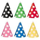 Polka Dots 8 CONE HATS (Spots/Decoration/Birthday/Celebration/Party)