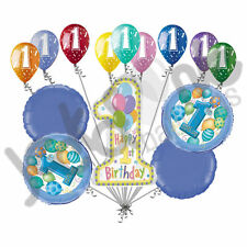 14 pc 1st Blue Happy Birthday Balloon Bouquet Party Decoration Baby One First