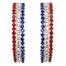Ruby Red White Blue USA Flag Patriotic Pave Set Crystal Rhinestone Hoop Earrings