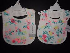 NWT Carter's Girl's White Floral Teething Bibs Set of 2 New