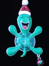 "HAPPY LAUGHING CHRISTMAS ORNAMENT SANTA SEA TURTLE PIN BROOCH JEWELRY DANGLES 3"""