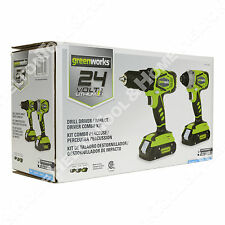 Greenworks CK24B220 24V Lithiumn MAX Drill Driver/Impact Driver Combo Kit New