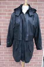 Women's Hooded Black Leather Mid-length Coat by Zenia Size XL