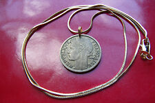"1930's French Franc Coin Pendant on a 24"" 18k Gold Filled Snake Chain"