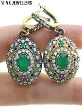 Antique Turkish Traditional Jewelry 925 Silver Handmade Emerald Earrings R2993