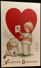 Stecher Litho VALENTINE Postcard (MEP. Margaret E Price) SNOW SUIT BABY & KITTY