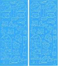PRAM, BOTTLE, TOYS, WORDS ETC - WOODWARE BLUE BABY PEEL OFF STICKERS - 2 SHEETS