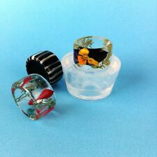 CLEAR SILICONE MOLD (MR091), RING FOR SLIGHTLY RAISED STRIPS RING SIZE 8
