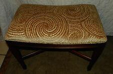 Mahogany Vanity Bench with Swirl Print Velvet  (BN138)