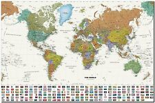 """World Map with Flags Canvas Print Poster 24X18"""""""
