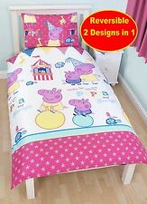 NEW PEPPA PIG FUNFAIR SINGLE DUVET QUILT COVER WHITE BEDDING SET BOYS GIRLS KIDS