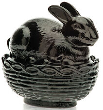 Covered Bunny Rabbit Dish - Mosser USA - Black Glass