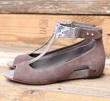 Tsubo Womens Gerri Snake Charcoal Suede Heels Wedges Sandals US 7 UK 5.5 EU 38
