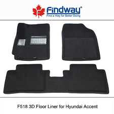 Black All Weather 3D Car Floor Mats/Liners for 2012-2016 Hyundai Accent
