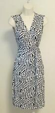 Diane von Furstenberg Yahzi Polka star dot wrap dress 6 black white sleeveless