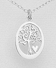 "0.94"" Solid Sterling Silver Heart Tree Pendant 1.3g BEAUTIFUL"