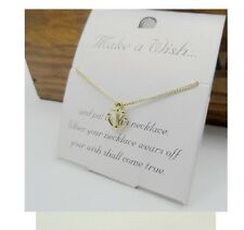 Gold Tone MAKE A WISH CARD Friendship Pendant Short Collar Necklace 41cm/16""