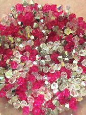 100 Austrian Crystal 4mm Bicone Beads - Bright Pink, Clear AB, & Half Silver Mix