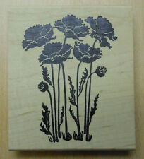 Tall Poppies Rubber Stamp Wood Mounted