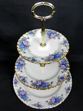 MOONLIGHT ROSE 3-TIER CAKE STAND, 1987-2002, MADE IN ENGLAND, ROYAL ALBERT