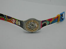 SWATCH WILD HAIR CARDS BAND RED POINTER SECOND HAND NEW BATTERY RUNS PERFECT