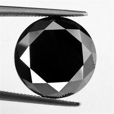 1.00 ct NATURAL LOOSE DIAMOND JET BLACK OPAQUE ROUND BRILLIANT CUT FRM AFRICA NR
